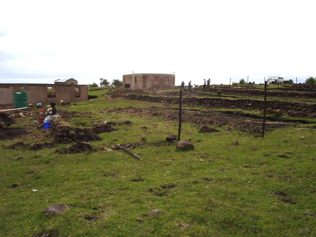 Terraces almost full of earth and fence poles being planted