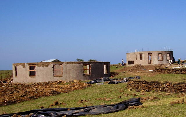 School with lime plaster, Hall on left, Grade R classroom on right