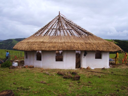 Half way finished thatching the Grade R classroom
