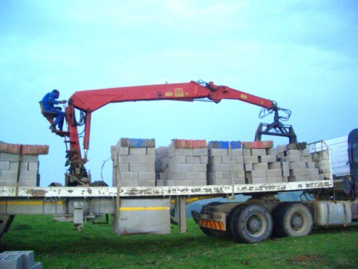 This truck is transporting 25 tons of cement blocks!