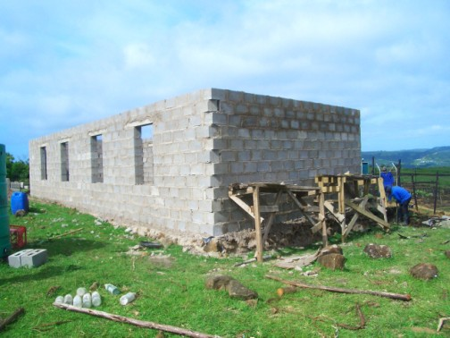 blocks laid and ready for the roof trusses