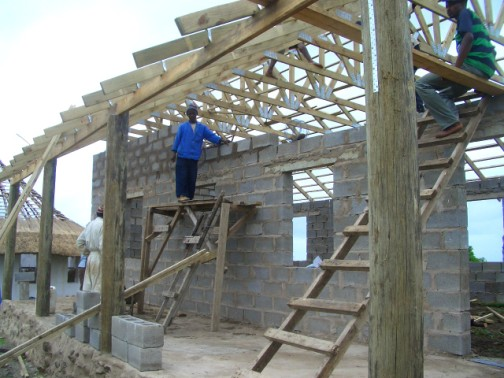roof trusses being installed