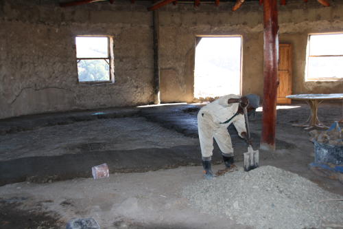 Laying the floor of the hall