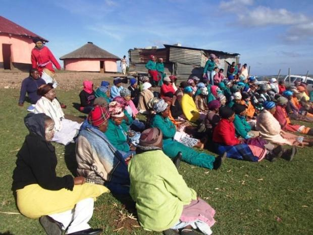 The community gathered in Tshezi Village to meet with the visitors